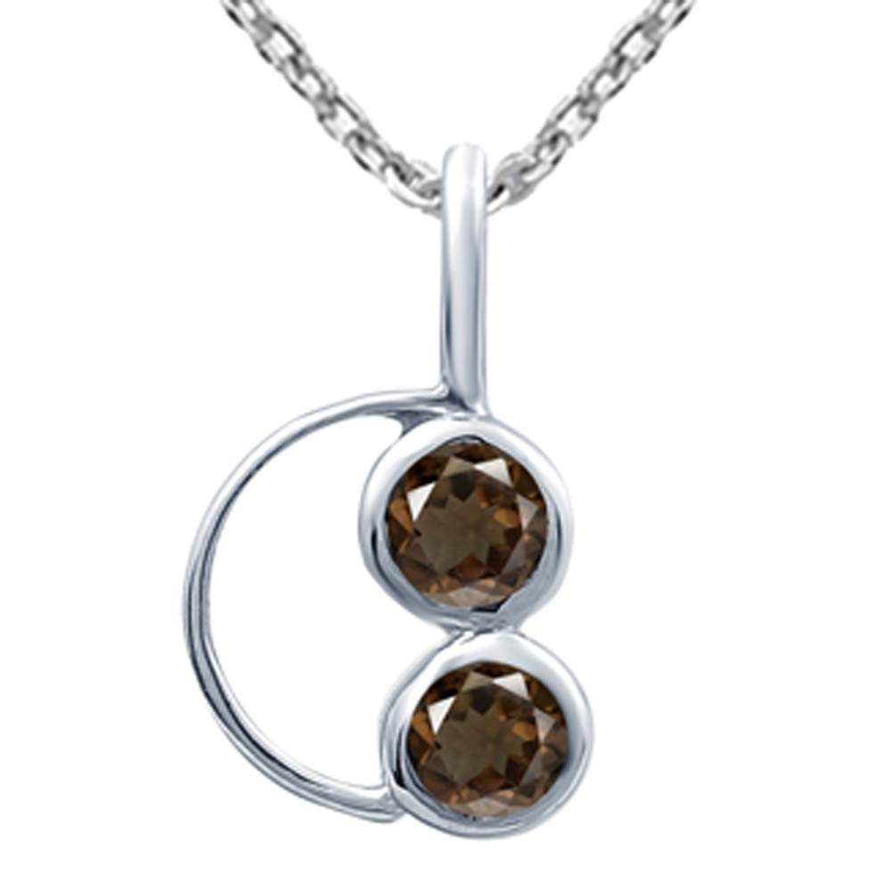 Orchid Jewelry 0.5 Ctw Natural Round Brown Smoky Quartz Sterling Silver Pendant Necklace With an 18 Inch Chain A Lovely Long Chain Pendant Necklace Set For Women In Silver With A Vintage Vibe