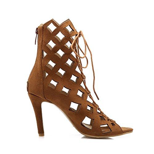 baf7e0d42a86 ... YE Damen High Heels Sommerstiefeletten Offen Ankle Boots Cut Outs  Sandalen mit Schnürung 10cm Absatz Schuhe ...