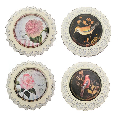 Teton Home Birds and Flowers Decorative Plates, Set of 4 WD-087
