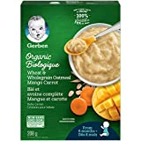 GERBER Organic Wheat & Wholegrain Oat Mango Carrot Baby Cereal 6 x 208g Box (Pack of 6)