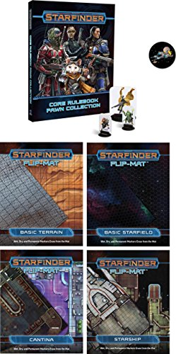Starfinder Flip-Mat Bundle of Basic Terrain, Basic Starfield, Cantina, Starship and the Core Pawn Collection plus a Cool Star Fighter ()