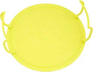 Idiytip Microwave Oven Heating Standing Tray Food Steaming Layered Holder Multifunctional Folding Round Tray,yellow
