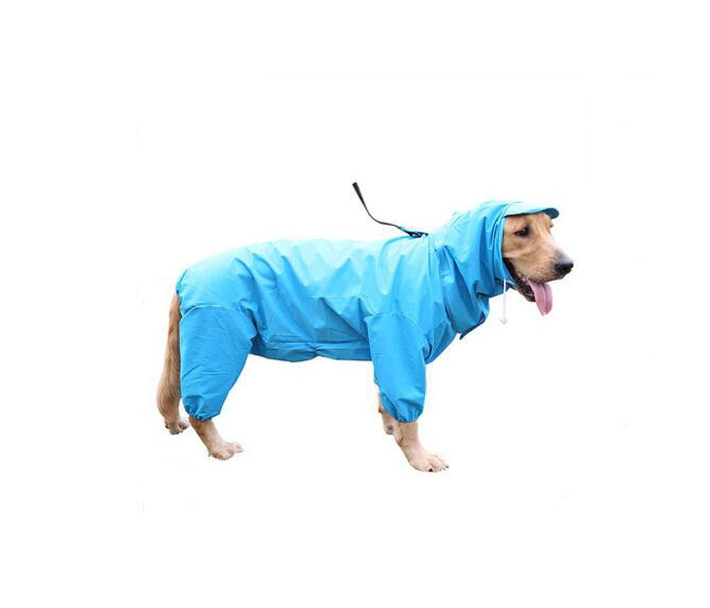 bluee 18  bluee 18  Hongyushanghang Dog Raincoat, Medium and Large Dog Four-Legged Waterproof Suit fine (color   bluee, Size   18 )