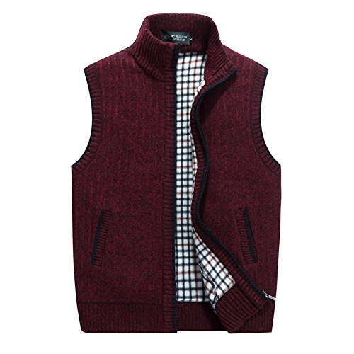 (XinDao Men's Stand Collar Loose Zipper Sleeveless Knitted Cardigan Sweater Vest Outwear Jackets & Coats Wine Red US L/Asia)