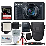 Canon PowerShot SX740 HS Digital Camera (Black) + 64GB Memory Card + Point & Shoot Case + Flexible Tripod + LED Video Light + USB Card Reader + Lens Cleaning Pen + Screen Protectors - Accessory Bundle