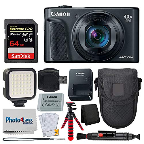 Canon PowerShot SX740 HS Digital Camera (Black) + 64GB Memory Card + Point & Shoot Case + Flexible Tripod + LED Video Light + USB Card Reader + Lens Cleaning Pen + Screen Protectors – Accessory Bundle
