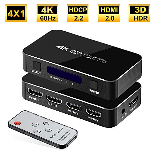 FERRISA 4K 60Hz 4x1 HDMI Switch, 4 Port Auto HDMI Switch Box with IR Remote,Support HDCP 2.2 4Kx2K 3D 1080P,4 in 1 Out HDMI Switch Switcher Selector for Xbox360/PS4/PS3/Nintendo/Roku/to TV Projector