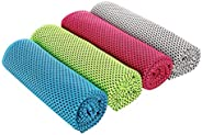 4 PCS Cooling Towels,Instant Ice Cool Towels Sports Gym Yoga Towel Microfibre Quick Dry Fitness Towel for Golf