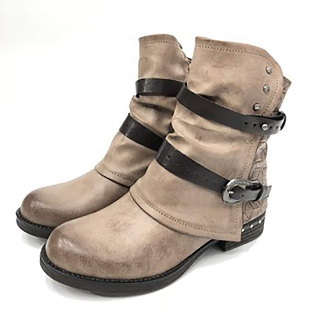 DLBJ Martinstiefel im Retro-Stil Für Damen Runde Schuhe mit Niedrigem Absatz und Wilde Coole Damenschuhe