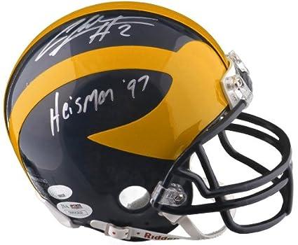 4f8fd29d6 Amazon.com: Signed Charles Woodson Michigan Wolverines Mini Helmet  w/Heisman 97 - JSA/SM - - JSA Certified - Autographed College Mini Helmets:  Sports ...