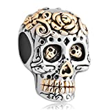 LovelyCharms 925 Sterling Silver Skull Charms Dia De Los Muertos Rose Flower Beads Fit Pandora Charm Bracelets