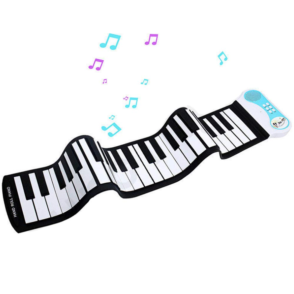TFACR Portable Piano 49 Keys, Roll Up Electronic Keyboard Piano, USB MIDI Soft Flexible Keyboard Musical Instruments for Beginner Children, Kids Gifts