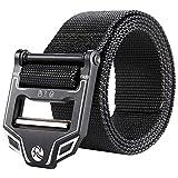 "designer fashion fba81 4e20b KingMoore Tactical Belt, Nylon Webbing Waist Belt Military Style Web Belt  Heavy-Duty with Metal Buckle (L (36""-41""), Black)"