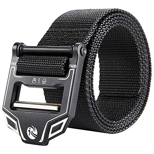 KingMoore Tactical Belt, Nylon EDC Belt Heavy Duty Work Belt Quick-Release with Metal Buckle CCW Holsters Pouches Military Combat Duty Wilderness Hunting Survival (XL (42''-46''), Black)