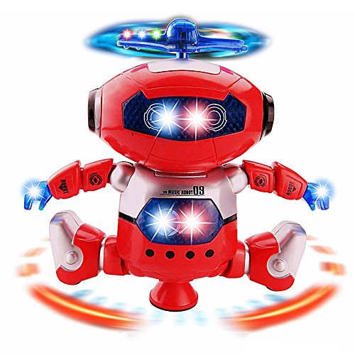(Electronic Motion and Music Robot Toy In Red - Flashing LED Lights and Propellor Action - Dances and Sings to Music - Conveniently Battery Operated - Awesome Astronaut Toy for Kids and Toddlers)