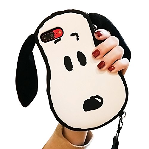 6f5ae847865132 Movable Ears Peanuts Snoopy Dog Case with Strap for iPhone 7Plus 8Plus 7+  8+ Soft Silicone 3D Cartoon Protective Shockproof Cute Lovely Kawaii Japan  Special ...