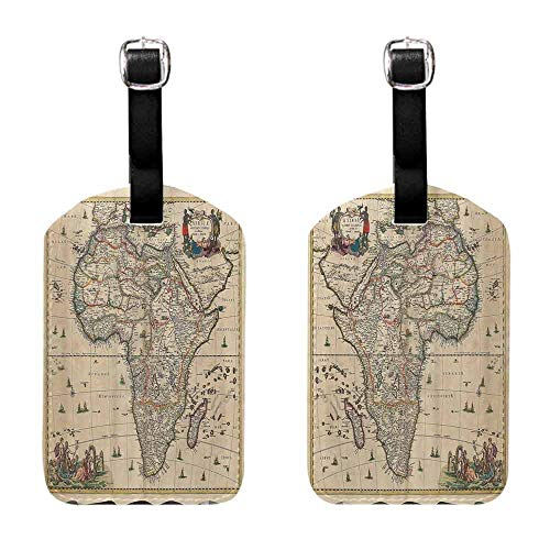 Business Card Holder Antique Decor Collection,Old Map of Africa Continent Ancient Historic Borders Rustic Manuscript Geography Image,Ivory Baggage Name Tag (Manuscript Border)