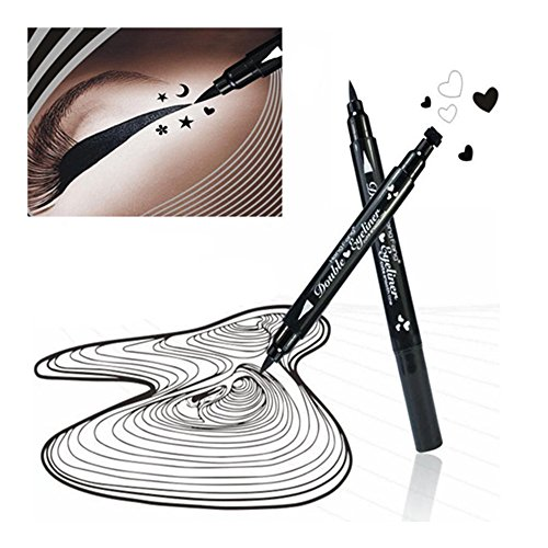 Heart Stamp 2 (Pinkiou 1x Eye Makeup Stamp Eyeliner Pencil Set Waterproof Double Head with Body Face Painting Stamp (Heart))
