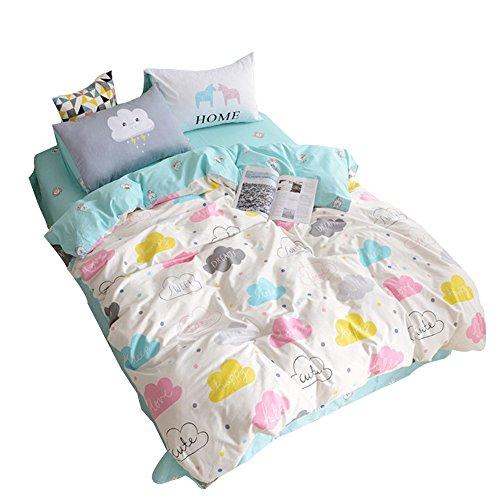 ORoa Children Cartoon Cloud Duvet Cover Set Cotton 100 3 Piece Queen Full Cloud Bedding Set for Kids Baby Toddler Crib (Full/Queen, Style 3)