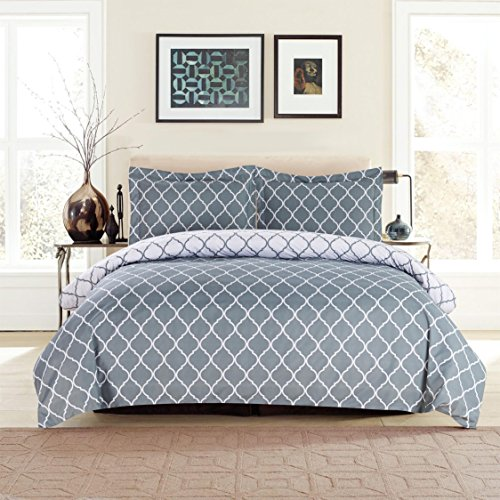 Lux Decor Collection Duvet Cover Set, 1800 Count Soft Egyptian Quality Hotel Luxury Queen Premium Bedding Duvet Cover, 3 Piece Luxury Soft, 2 Pillow Shams (Full/Queen, Grey/White)