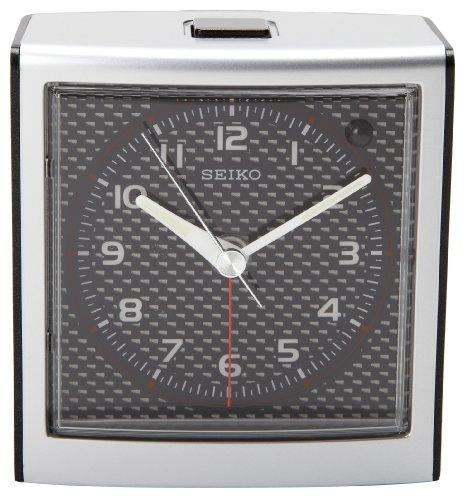 - Seiko Bedside Alarm Clock Silver-Tone Metallic Case