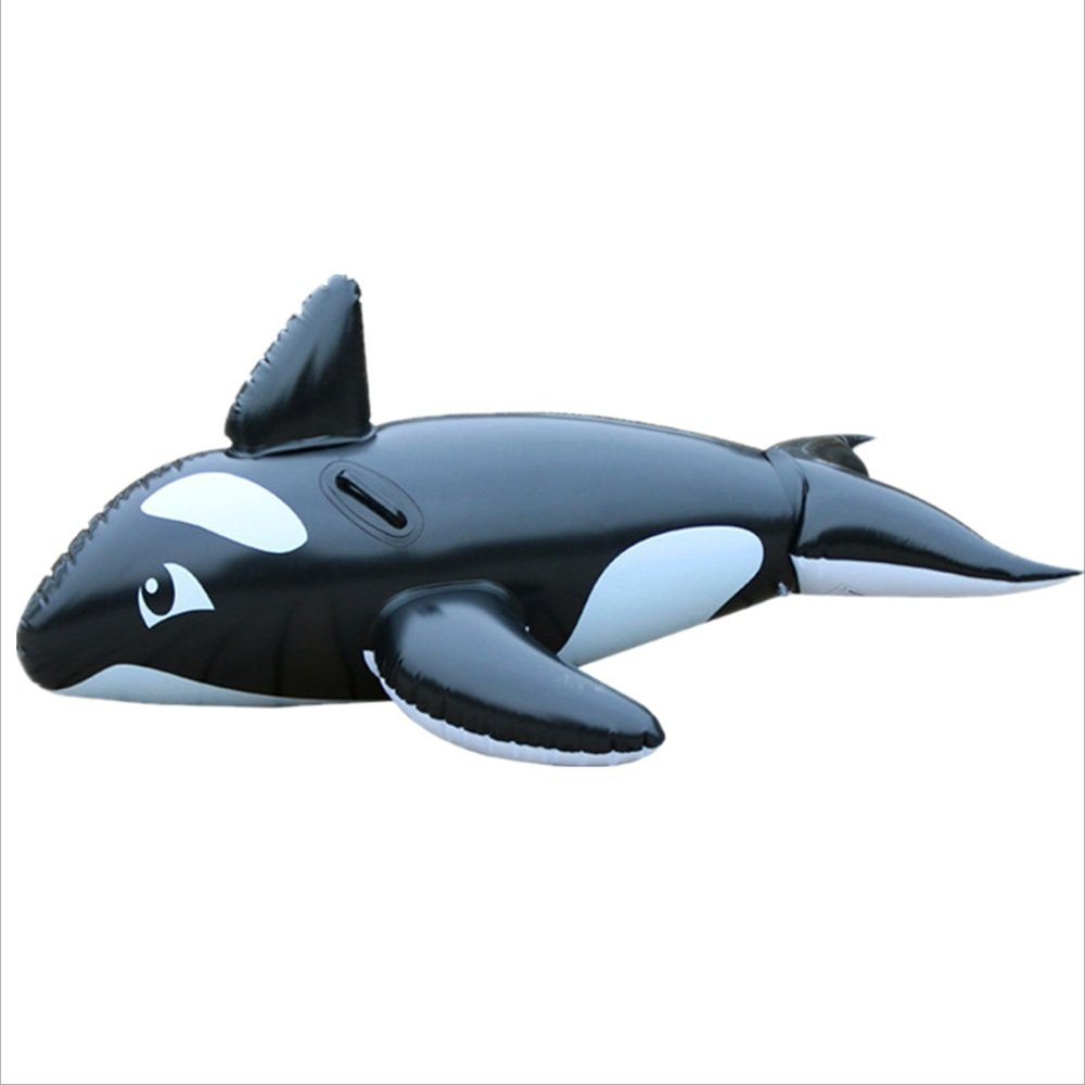 Fly Black Whale Floating Row Summer Water Animal Mount Water Floating Bed Inflatable Floating Row