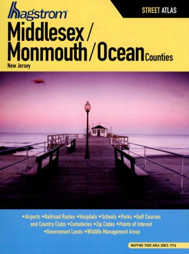 Hagstrom Middlesex/ Monmouth/ Ocean Counties, NJ. (Middlesex County, Monmouth County, Ocean County, NJ - County Ocean Nj Map