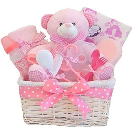 Gran regalo para bebé niña, Cesta grande con 12 artículos esenciales ...