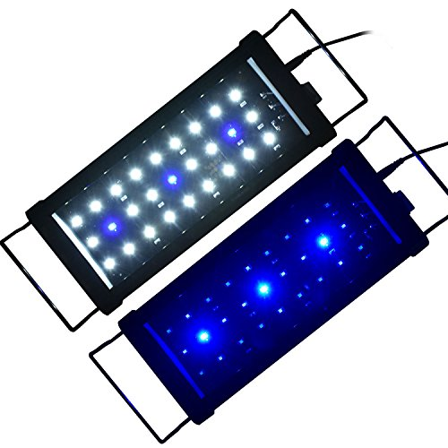 AE-SHOP LED Aquarium Hood Lighting Fish Tank Light Blue and White Light 12-18 inch
