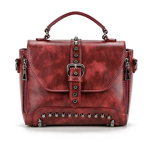 BAILIANG Sac Femmes Mode à Bandoulière Sac Winered Rivet à Crossbody Main PU nUpWrnXg