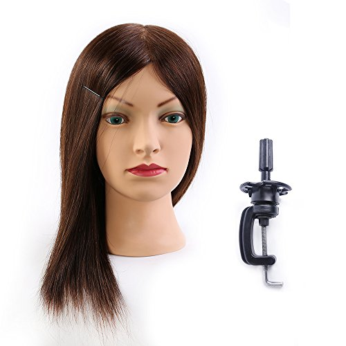 Mannequin Head 100% Human Hair Hairdresser Training Head Manikin Cosmetology Doll Head (Table Clamp Stand Included) HE0414S