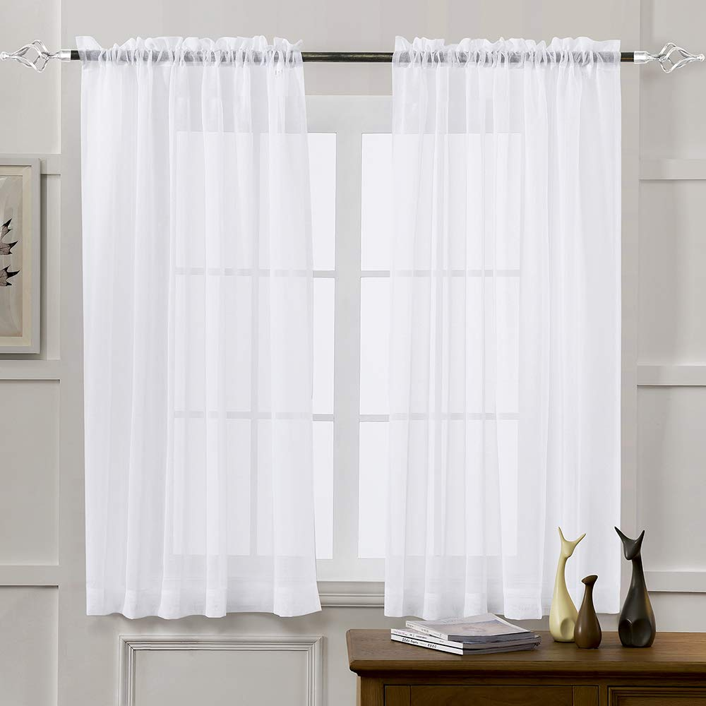 "Sheer Curtains White 45 Inch Length, Rod Pocket Voile Drapes for Living Room, Bedroom, Window Treatments Semi Crinkle Curtain Panels for Yard, Patio, Villa, Parlor, Set of 2, 52""x 45"", by Mystic Home."