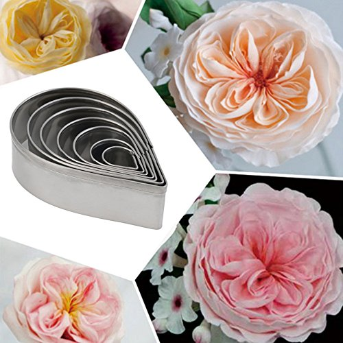 7Pcs Stainless Steel Rose Petal Cake Cookie Cutter Mold Pastry Baking Mould Cake Cookie Biscuit Decorating Fondant Cutters (Halloween Biscuit Decorating Ideas)