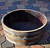 Water Tight Shallow Wine Barrel Planter, 26″D x 9″H For Sale