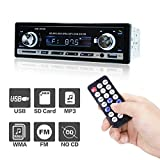 Car Stereo Bluetooth, POMILE Car MP3 Player Audio FM Receiver with Single-Din Version, USB Port and SD Card Slot AUX Receiver, Remote Control