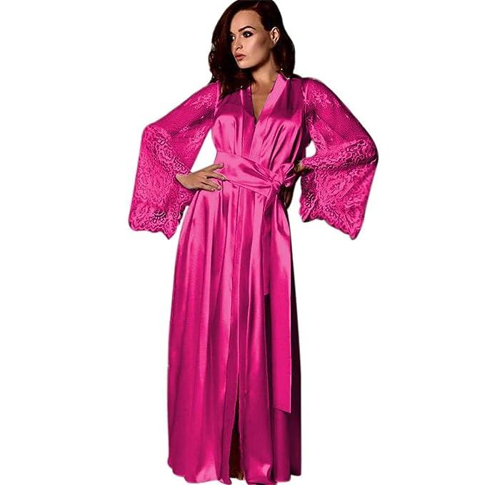 Amazon.com: Lingerie - Vestido largo de encaje para mujer ...