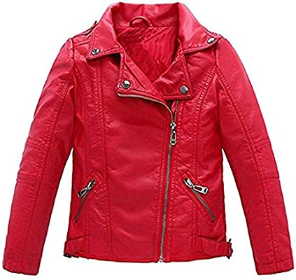 Meeyou Childrens Motorcycle Leather Jacket Faux Leather Coat for Boys//Girls