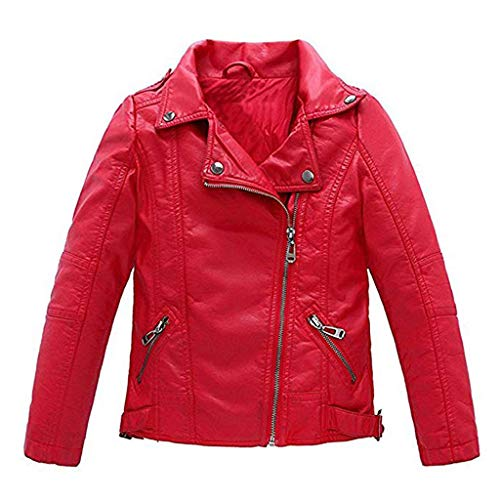 Meeyou Children's Motorcycle Leather Jacket, Faux Leather Coat for Boys (140/7-8T, Red Style)]()