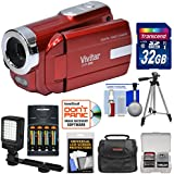 Vivitar DVR-508 HD Digital Video Camera Camcorder (Red) 32GB Card + Batteries & Charger + Case + LED Video Light + Tripod + Kit