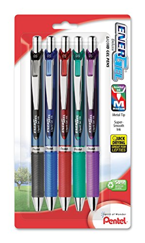 Pentel EnerGel RTX Retractable Liquid Gel Pen, 0.5mm, Metal Tip, Assorted Ink, Pack of 5 (BLN75BP5M) (Metal Pentel Energel Tip)