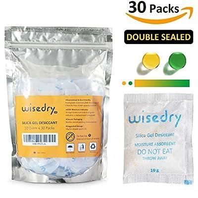 10 Gram x 30 Packs Food Grade Silica Gel Desiccant Packets Orange Color Indicating Cobalt (II) Chloride Free Moisture Absorbent …