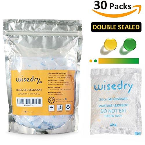 10 Gram x 30 Packs Food Grade Silica Gel Desiccant Packets Orange Color Indicating Cobalt (II) Chloride Free Moisture Absorbent