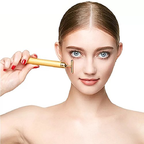 YSBER 24K Golden Face Massager & Beauty Care Vibration Facial Electric Massager for Lifting Skin Tightening Anti-wrinkle Bar Face Skincare