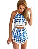 KUFV Women's Backless Two Pieces Outfit Playsuit Dress Set Crop Top+Short Pant