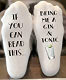 If You Can Read This Bring Me a Gin and Tonic Novelty Funky Crew Socks Men Women Christmas Gifts Slipper Socks