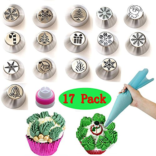 (Set of 17)15pcs NEW Russian Icing Piping Tips Christmas Design +1pcs Reusable Silicone Pastry Bags +1pcs Reusable Couplers,For Cakes Cupcakes Cookies Decoration Pastry Baking Tools by PalkSky