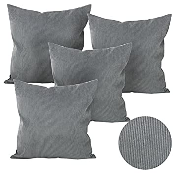 Deconovo Throw Cushion Tufted Home Decorative Hand Made Pillow Case Cushion Cover for Nap, 18x18-inch, Neutral Grey, Set Of 4
