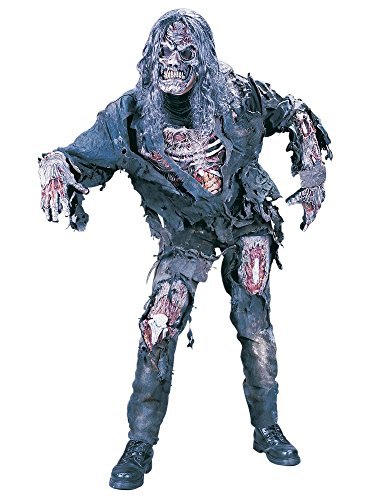 Scary Halloween Costumes - FunWorld Men's Complete 3D Zombie Costume, Grey, One Size