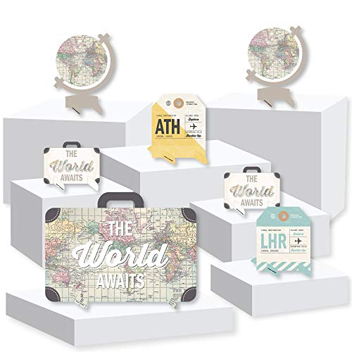 World Awaits - Travel Themed Centerpiece and Buffet Table Decor - Tabletop Standups - Set of 7