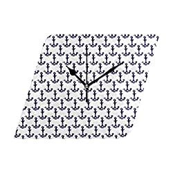 Veta Megica Ananchors in Navy Blue and White Silent Large Wall Clock Battery Operated,Wall Clock with Modern Decorative for Home,School, Bathroom, Bedroom, Office
